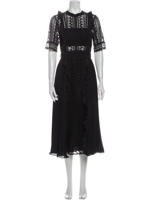 Self-Portrait Lace Pattern Long Dress Black
