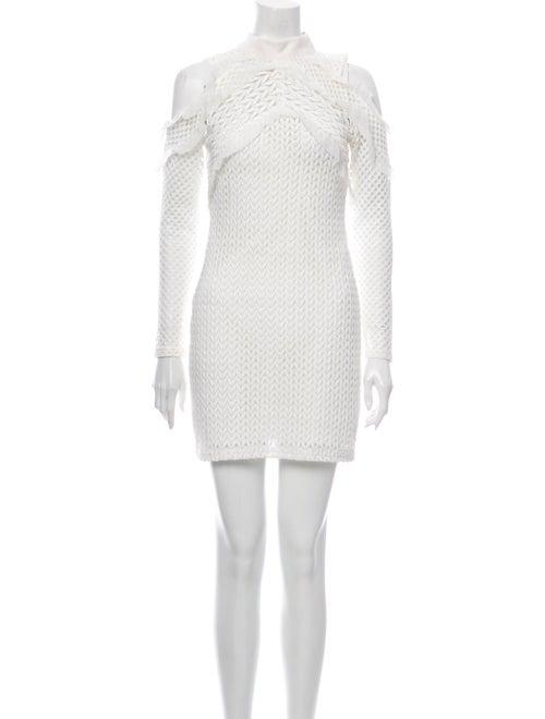 Self-Portrait Mock Neck Mini Dress White