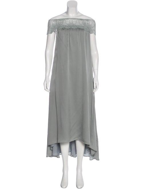 Self-Portrait Strapless Midi Dress Teal