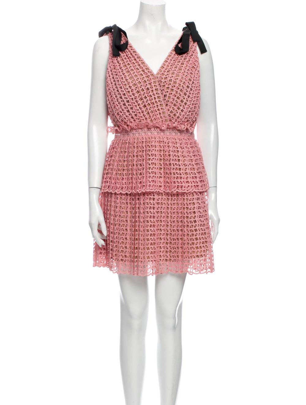 Self-Portrait Printed Mini Dress Pink - image 1