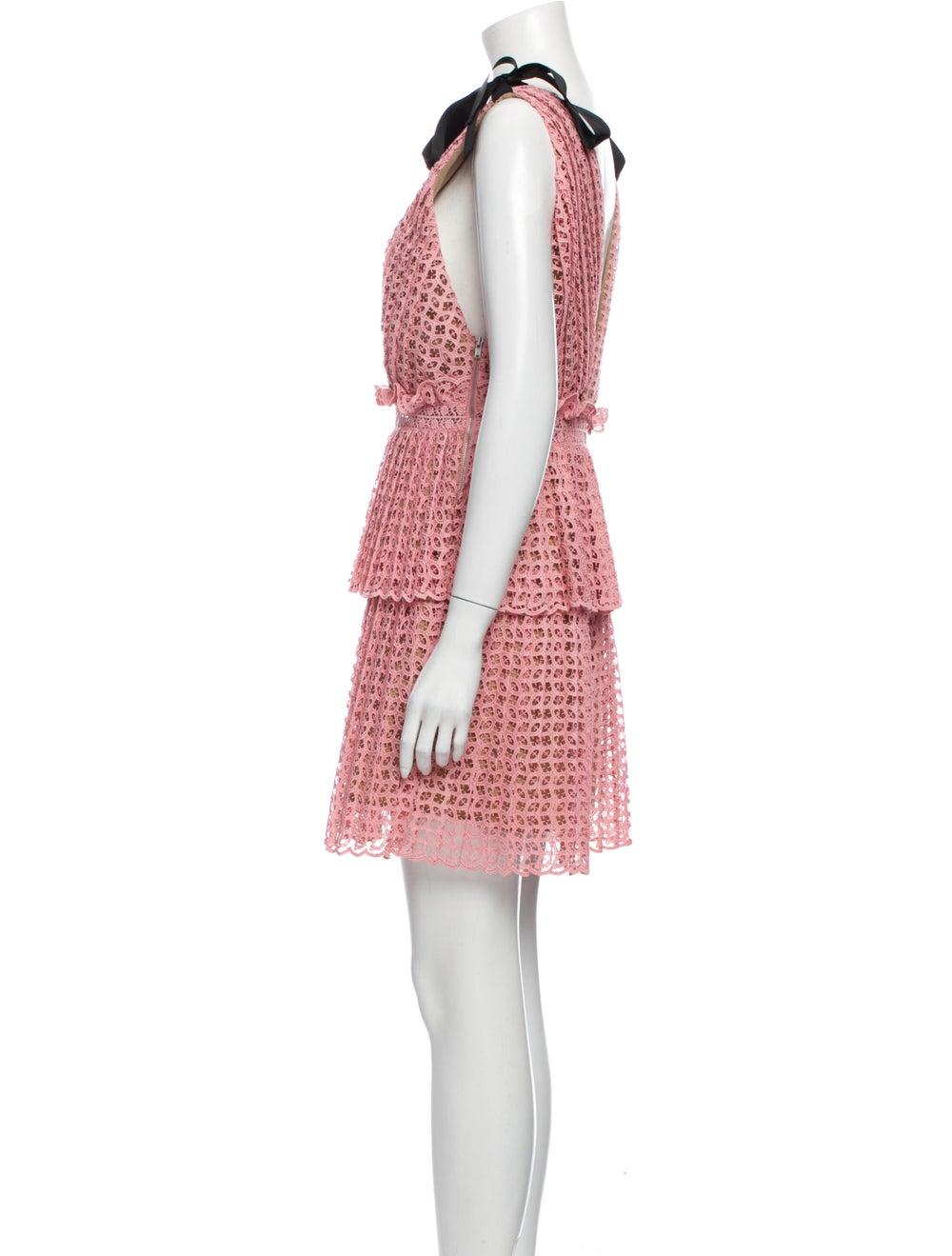 Self-Portrait Printed Mini Dress Pink - image 2