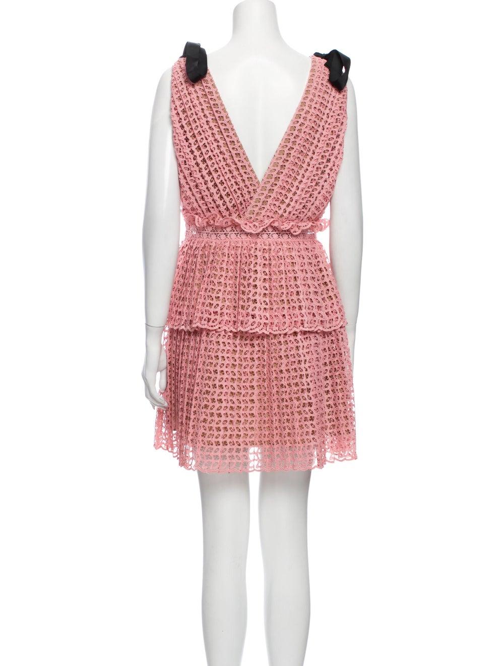 Self-Portrait Printed Mini Dress Pink - image 3
