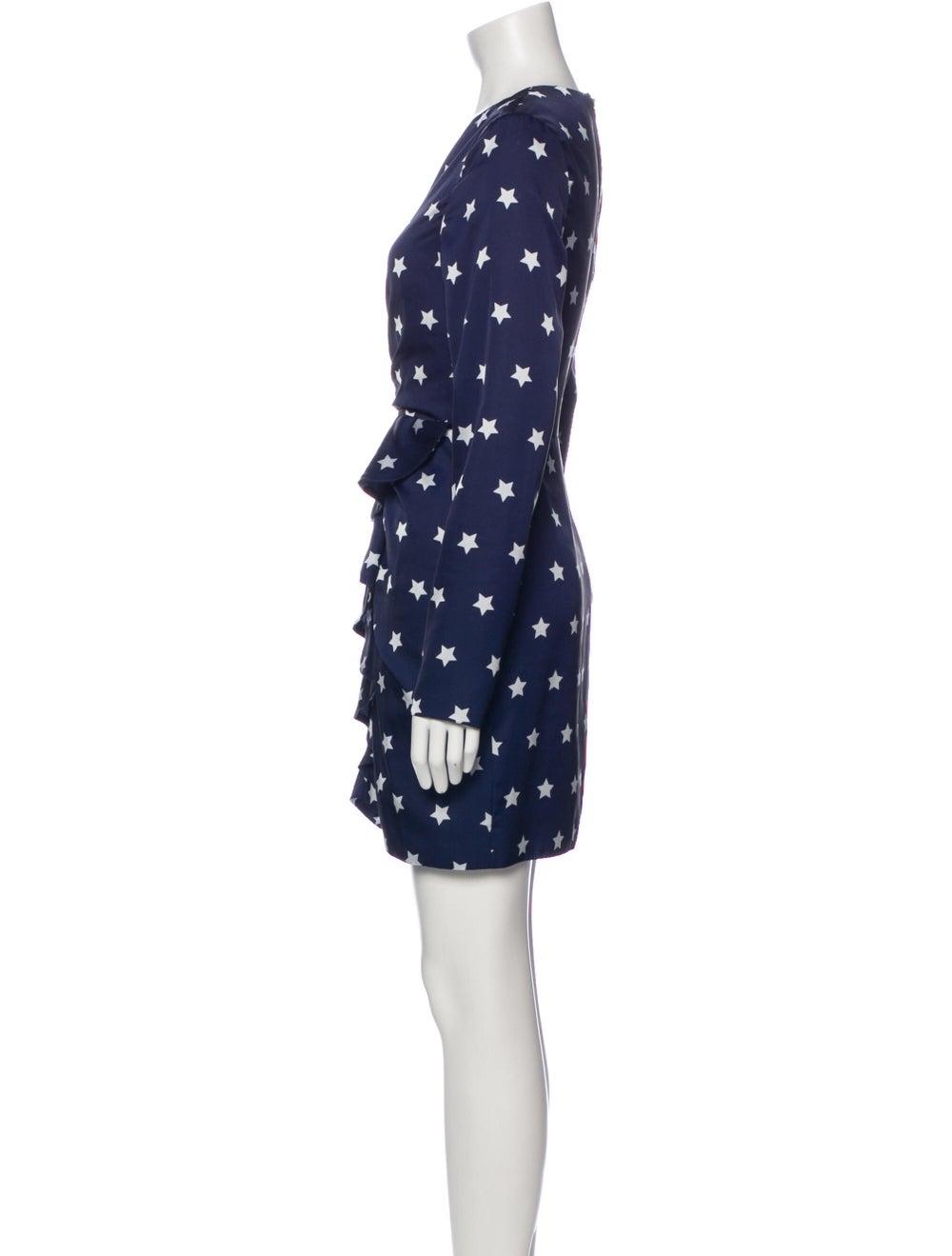 Self-Portrait Printed Mini Dress Blue - image 2