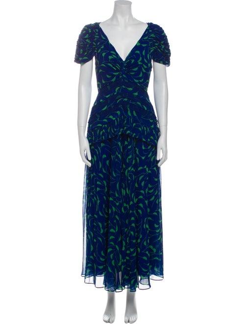 Self-Portrait Printed Long Dress Blue