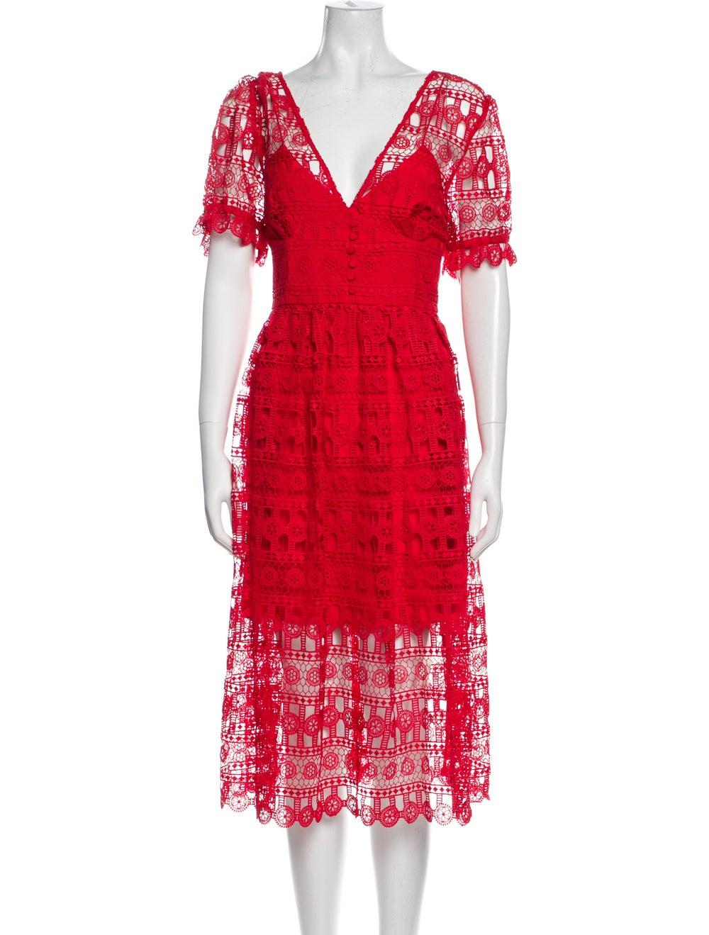 Self-Portrait Lace Pattern Midi Length Dress w/ T… - image 1
