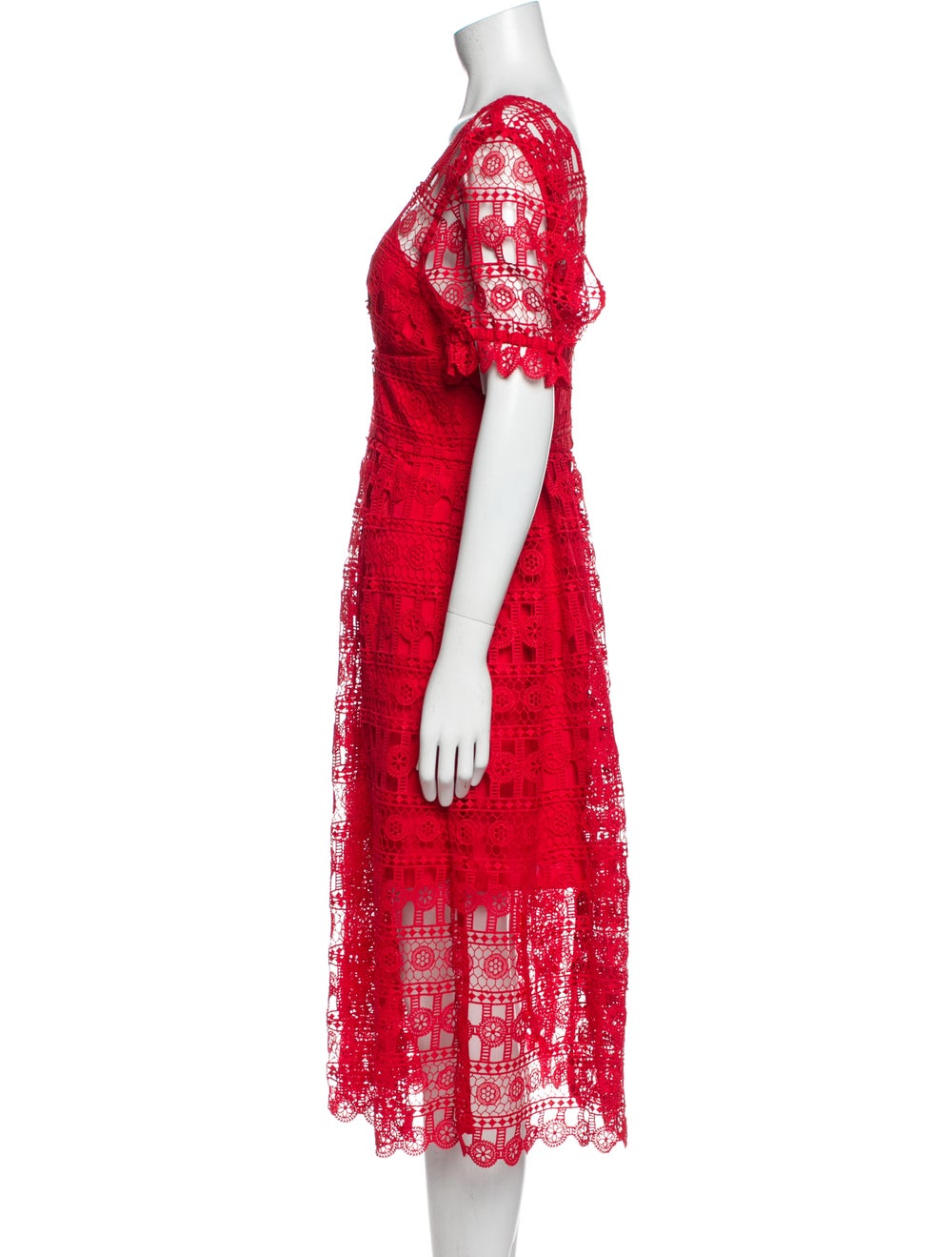 Self-Portrait Lace Pattern Midi Length Dress w/ T… - image 2