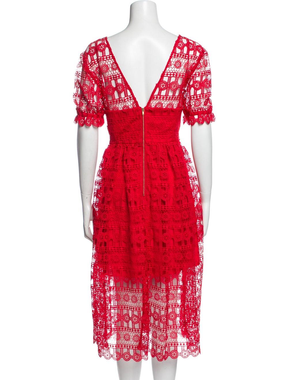 Self-Portrait Lace Pattern Midi Length Dress w/ T… - image 3
