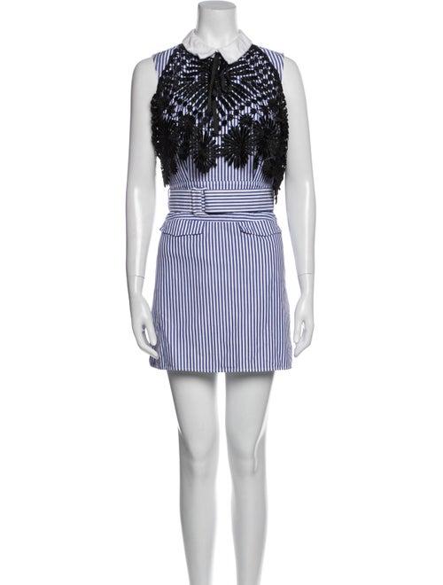 Self-Portrait Striped Mini Dress Blue - image 1