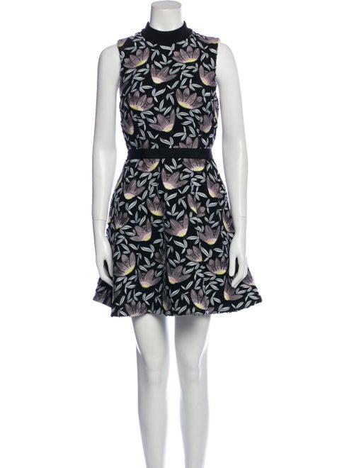 Self-Portrait Printed Mini Dress Black - image 1
