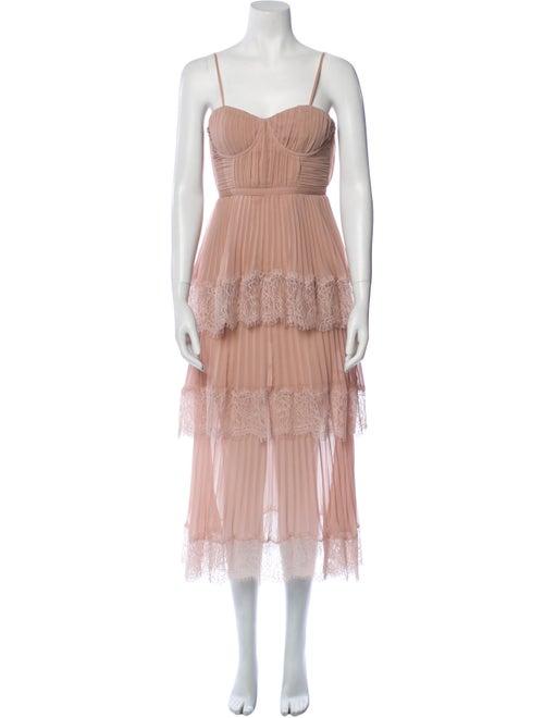Self-Portrait Square Neckline Long Dress Pink - image 1