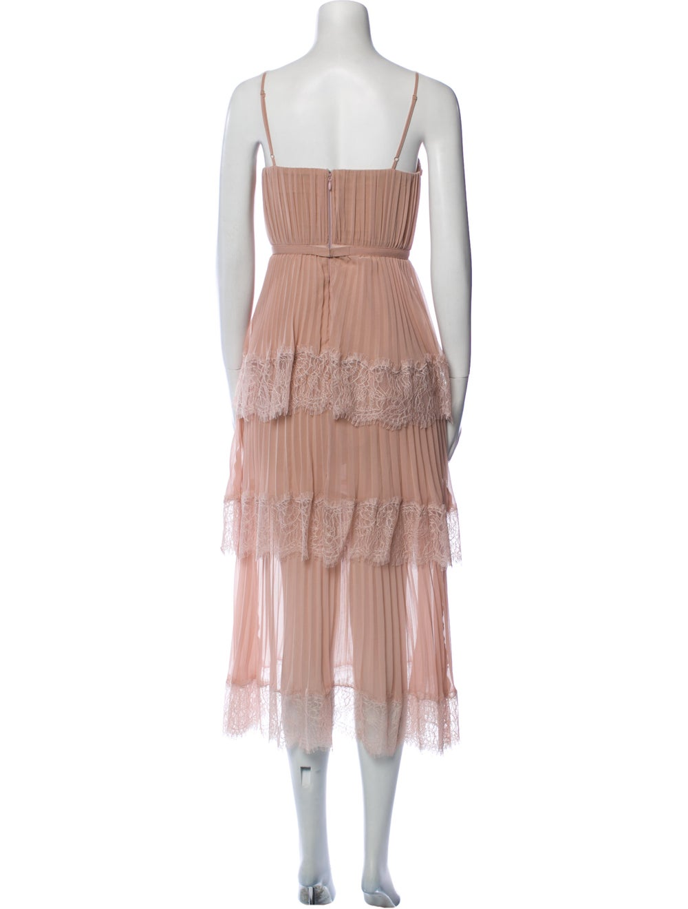 Self-Portrait Square Neckline Long Dress Pink - image 3