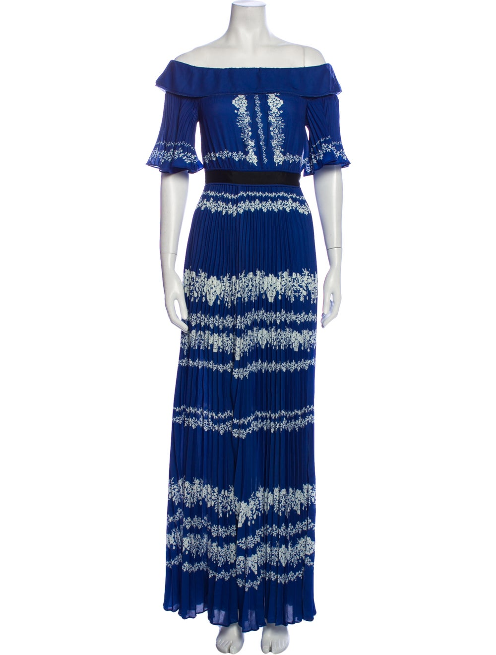 Self-Portrait Printed Long Dress Blue - image 1
