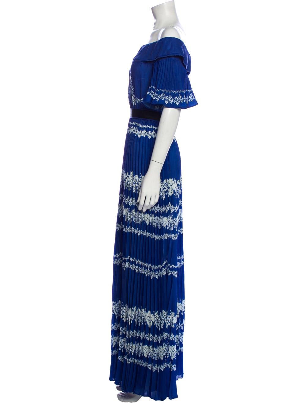 Self-Portrait Printed Long Dress Blue - image 2