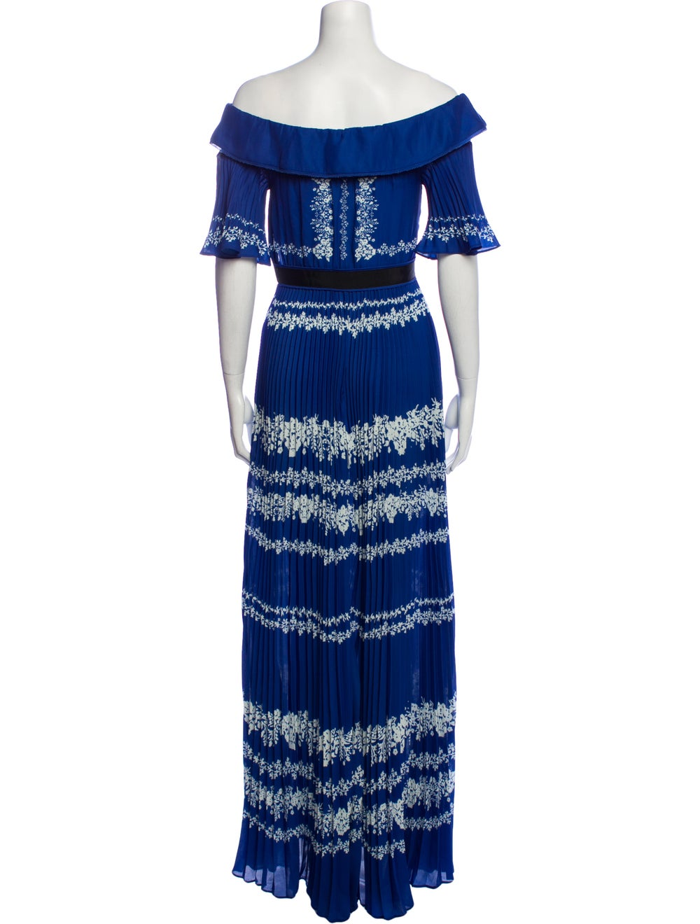 Self-Portrait Printed Long Dress Blue - image 3