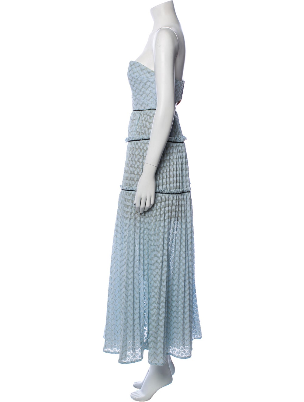 Self-Portrait Printed Midi Length Dress Blue - image 2