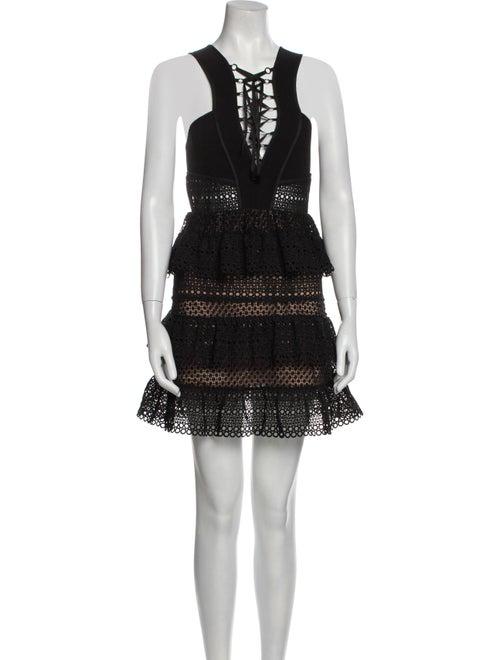 Self-Portrait Tie Neck Mini Dress Black - image 1