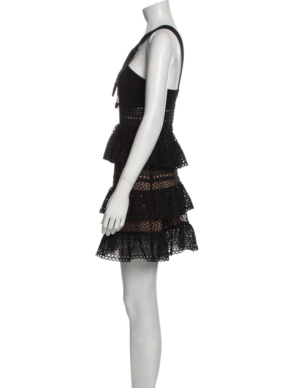 Self-Portrait Tie Neck Mini Dress Black - image 2