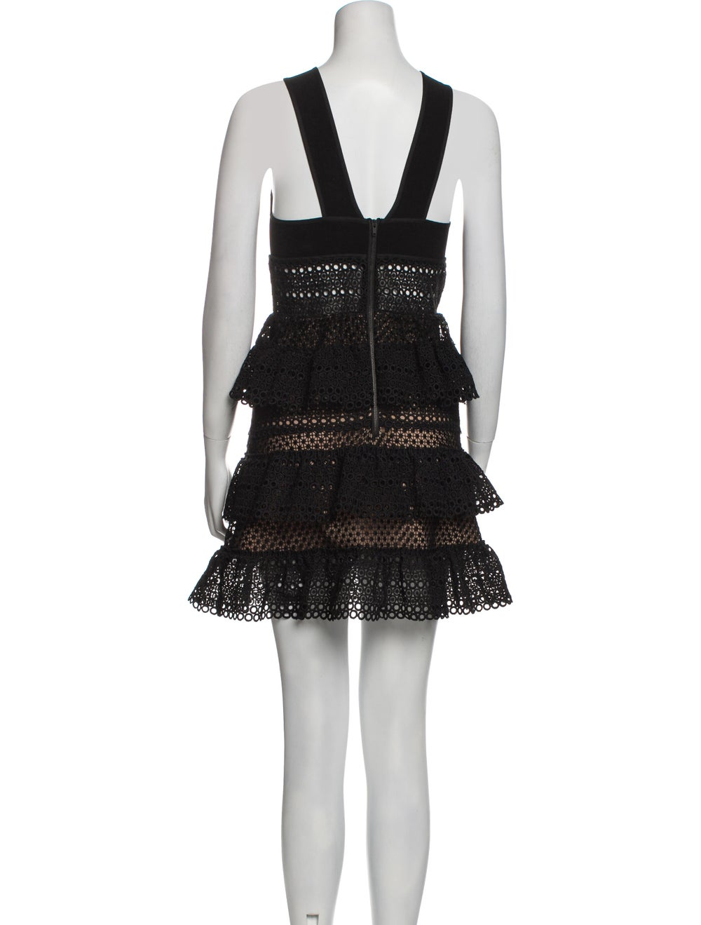 Self-Portrait Tie Neck Mini Dress Black - image 3