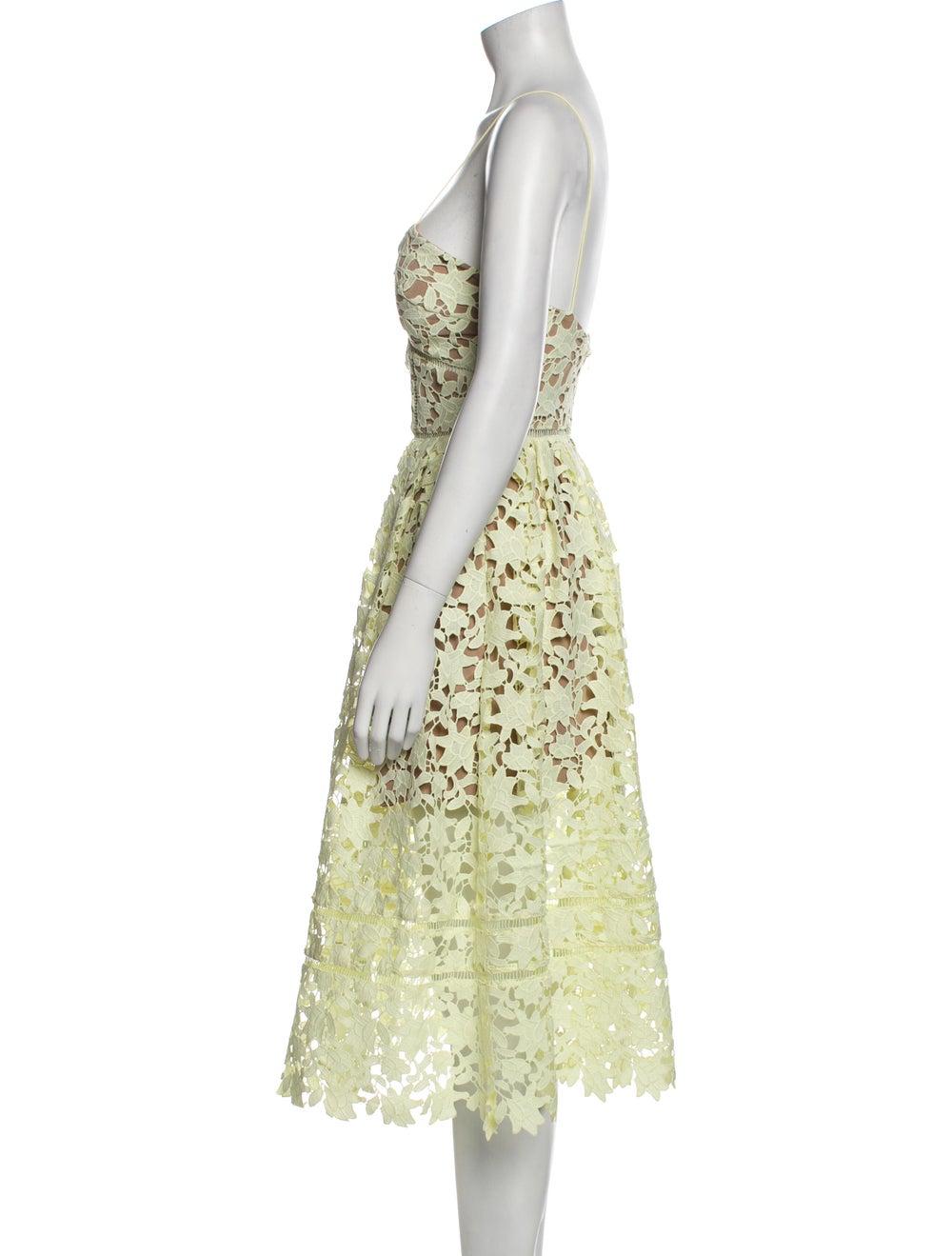 Self-Portrait Lace Pattern Midi Length Dress Yell… - image 2