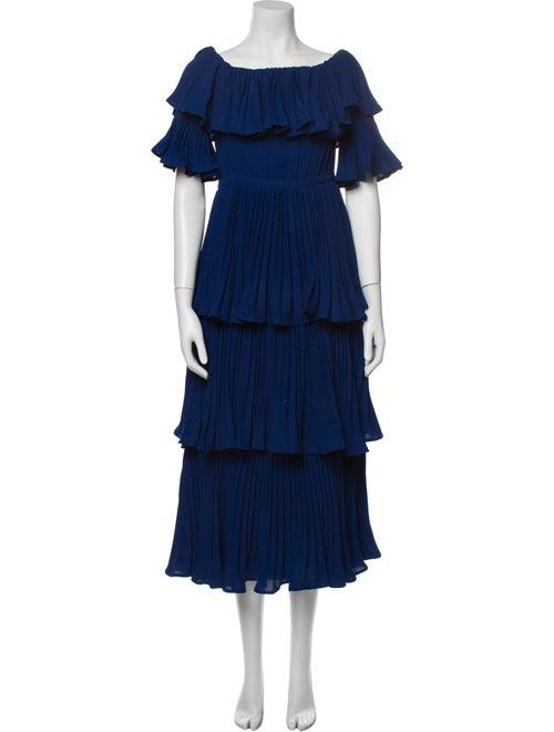 Self-Portrait Scoop Neck Long Dress Blue - image 1