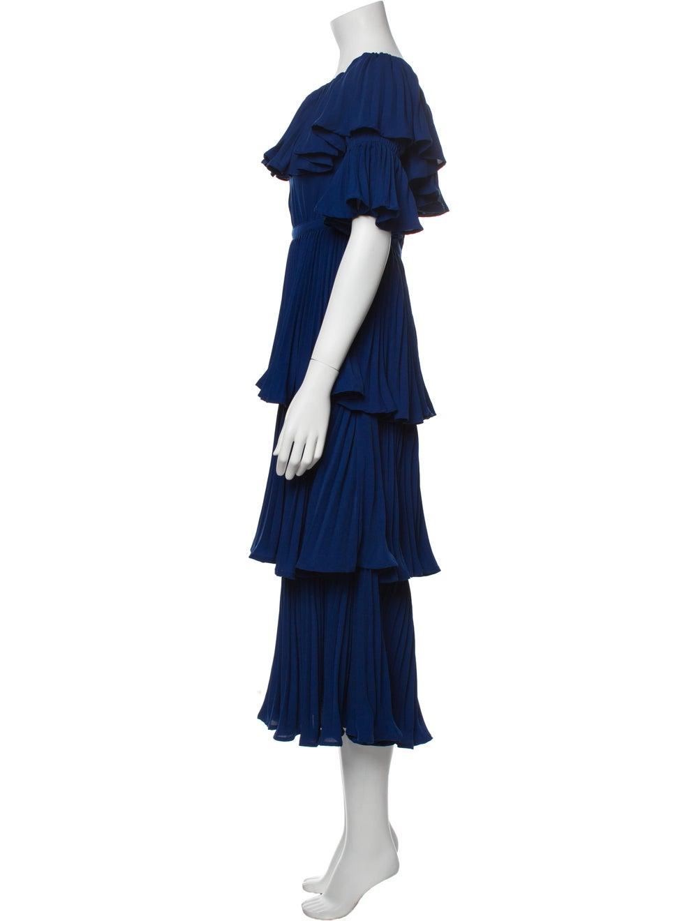 Self-Portrait Scoop Neck Long Dress Blue - image 2