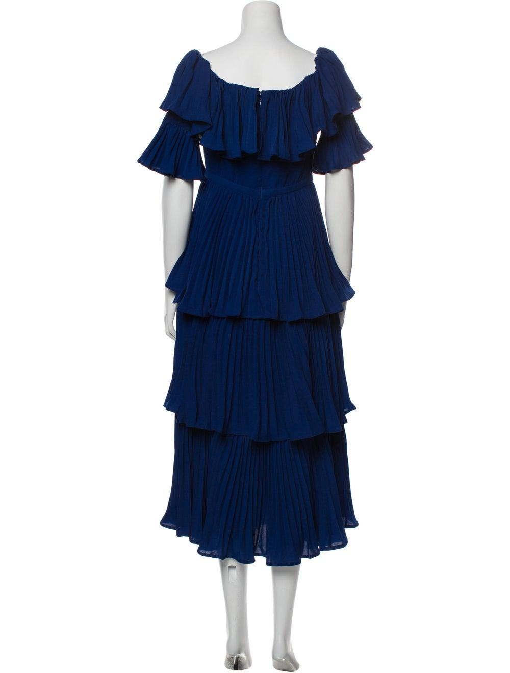 Self-Portrait Scoop Neck Long Dress Blue - image 3