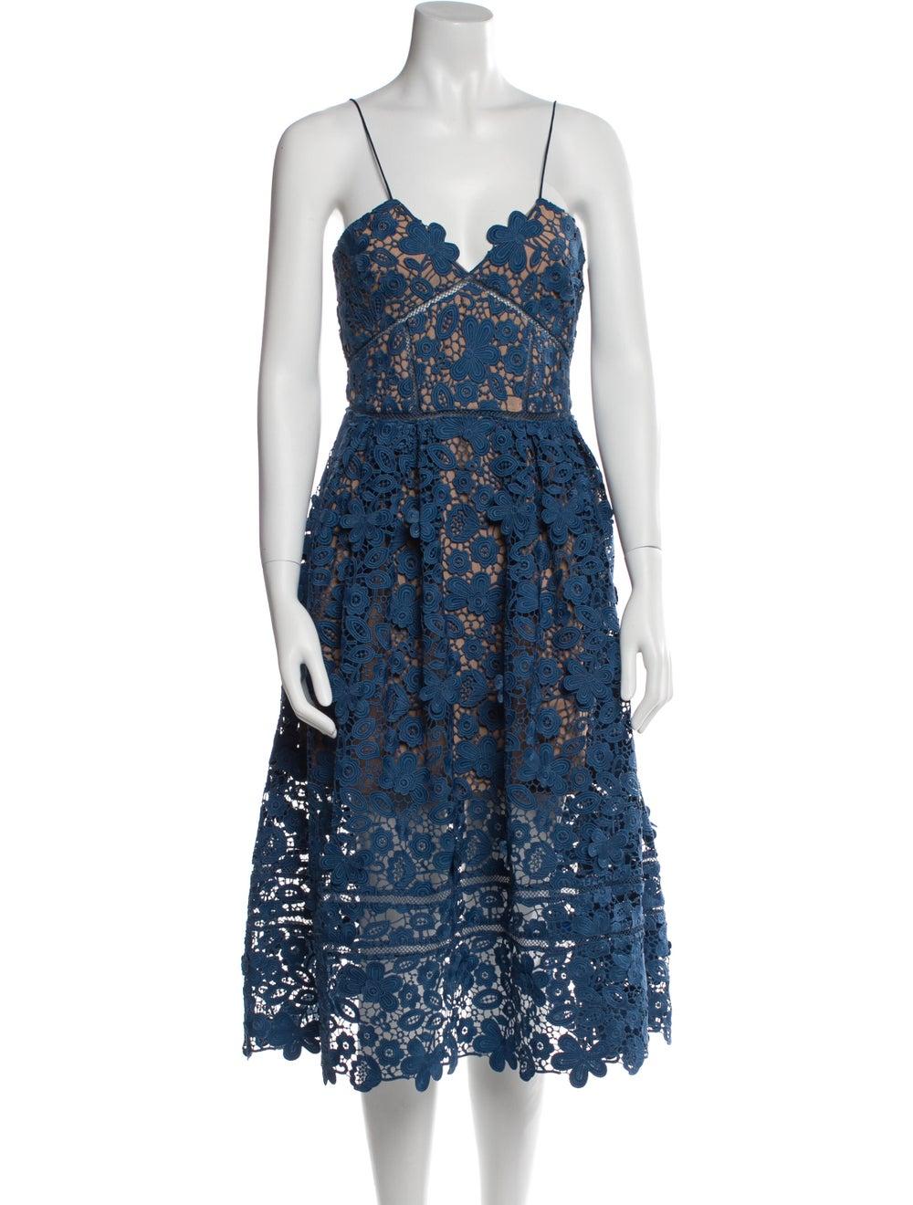 Self-Portrait Lace Pattern Midi Length Dress Blue - image 1