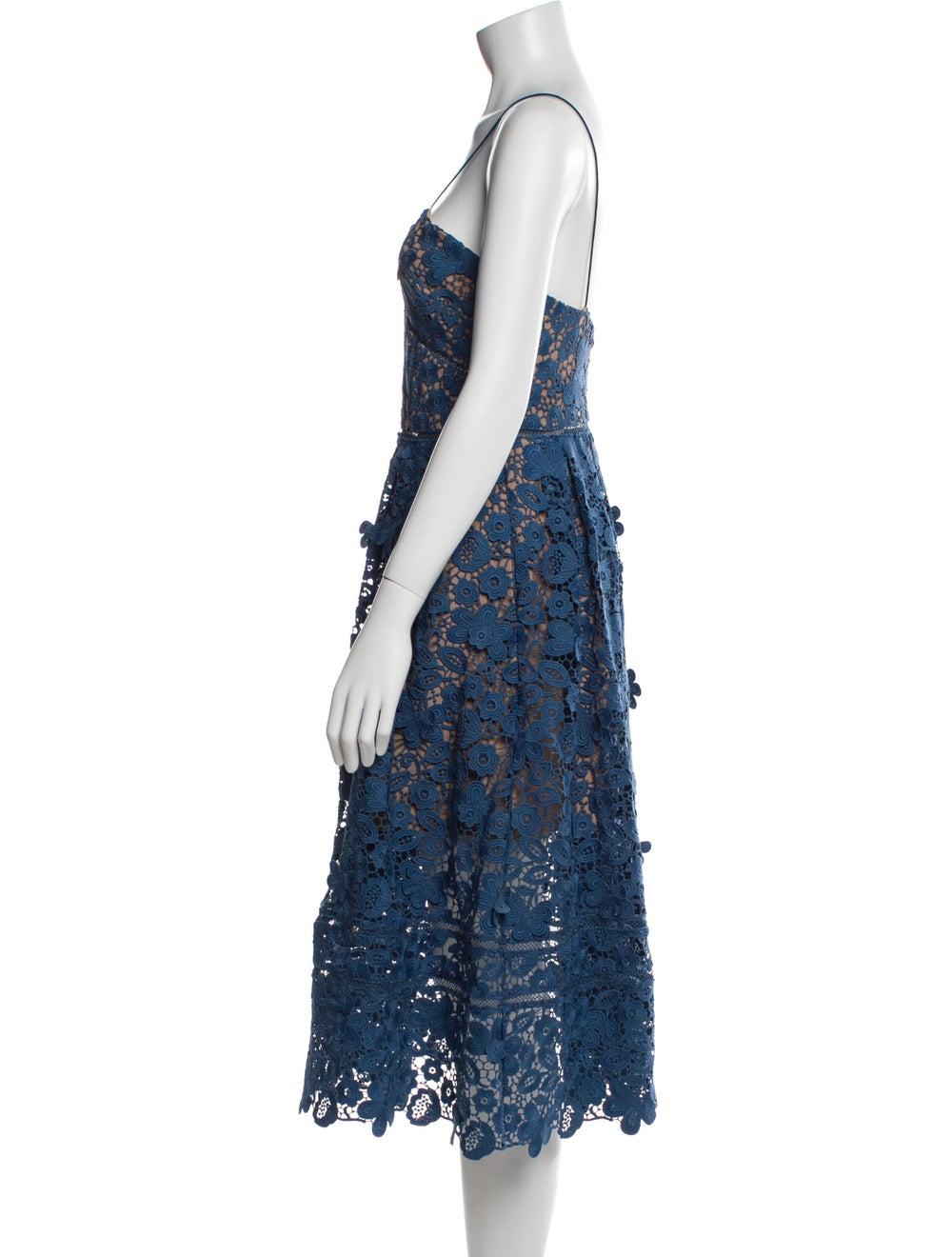Self-Portrait Lace Pattern Midi Length Dress Blue - image 2