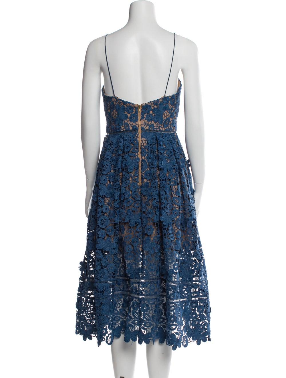 Self-Portrait Lace Pattern Midi Length Dress Blue - image 3