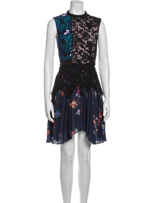 Self-Portrait Lace Pattern Knee-Length Dress Black - image 1