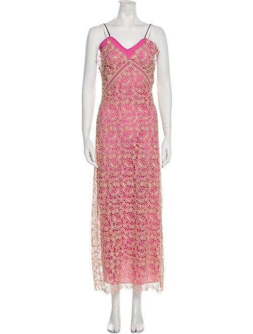 Self-Portrait Lace Pattern Long Dress Pink - image 1