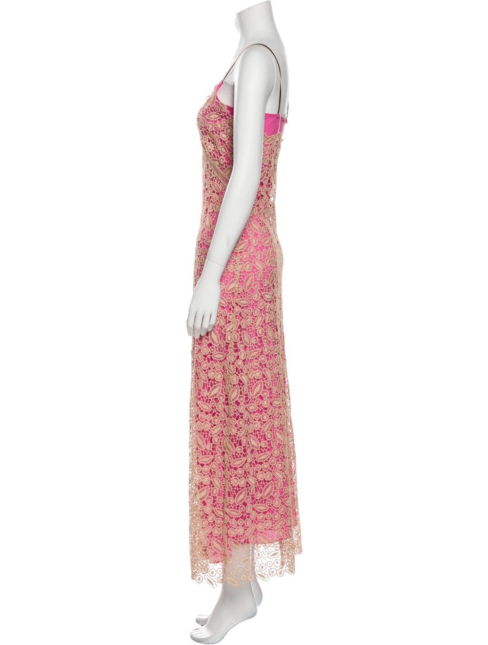 Self-Portrait Lace Pattern Long Dress Pink - image 2