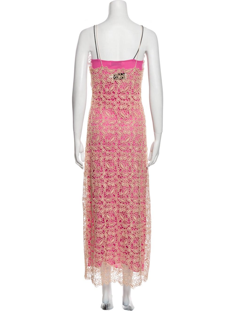 Self-Portrait Lace Pattern Long Dress Pink - image 3