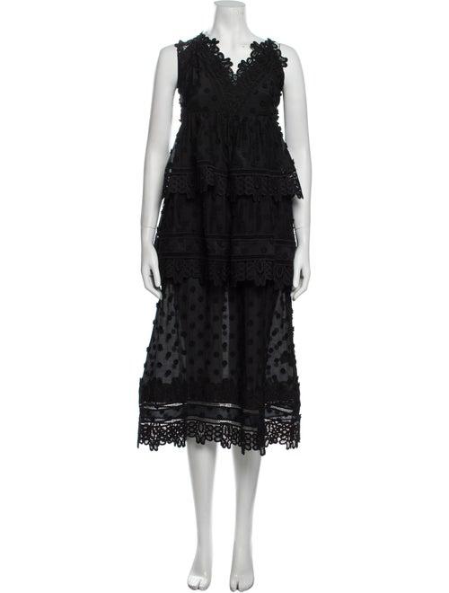 Self-Portrait V-Neck Long Dress Black - image 1