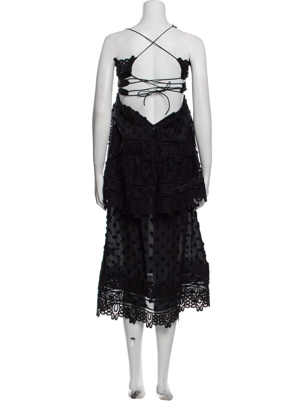 Self-Portrait V-Neck Long Dress Black - image 3