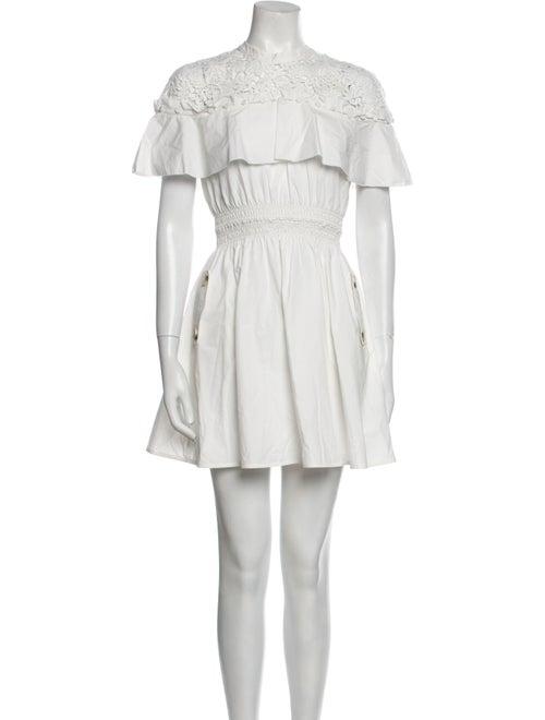 Self-Portrait Mock Neck Mini Dress White - image 1
