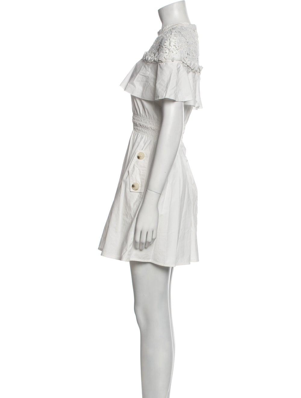 Self-Portrait Mock Neck Mini Dress White - image 2