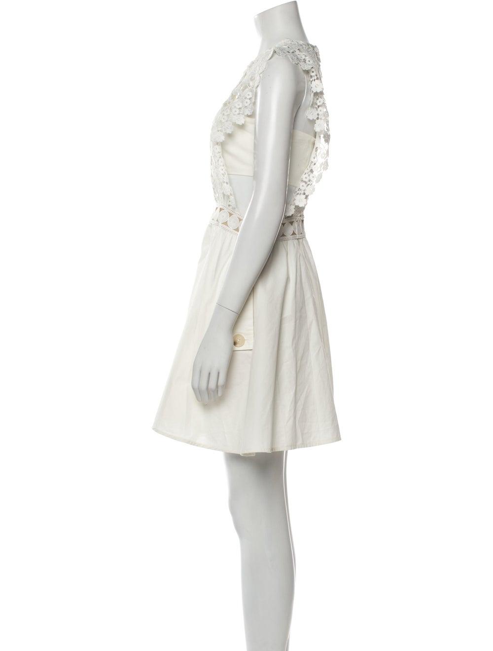 Self-Portrait Crew Neck Mini Dress White - image 2