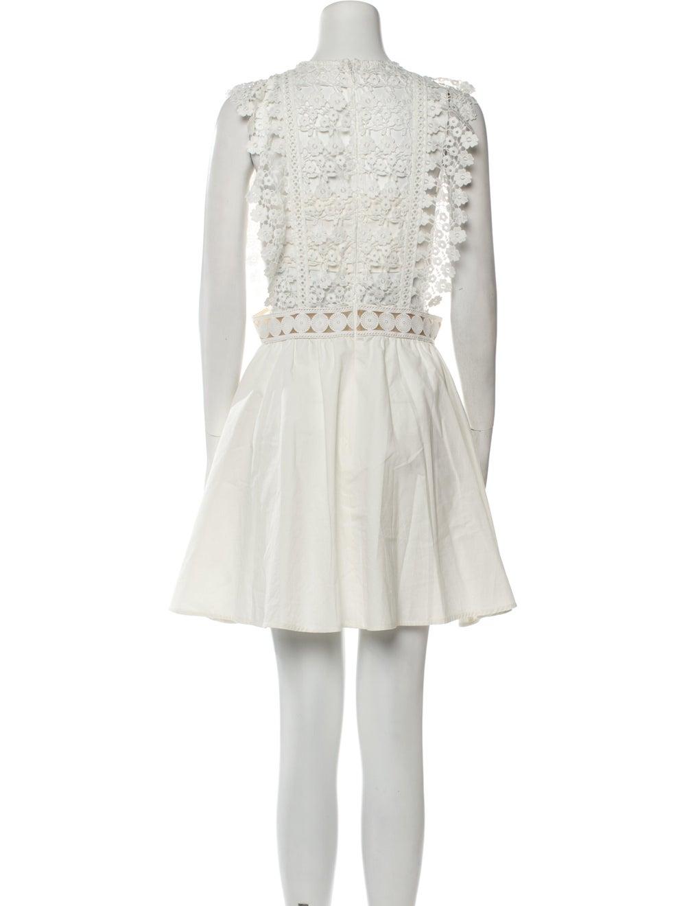 Self-Portrait Crew Neck Mini Dress White - image 3