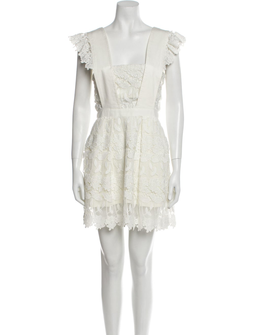 Self-Portrait Square Neckline Mini Dress White - image 1
