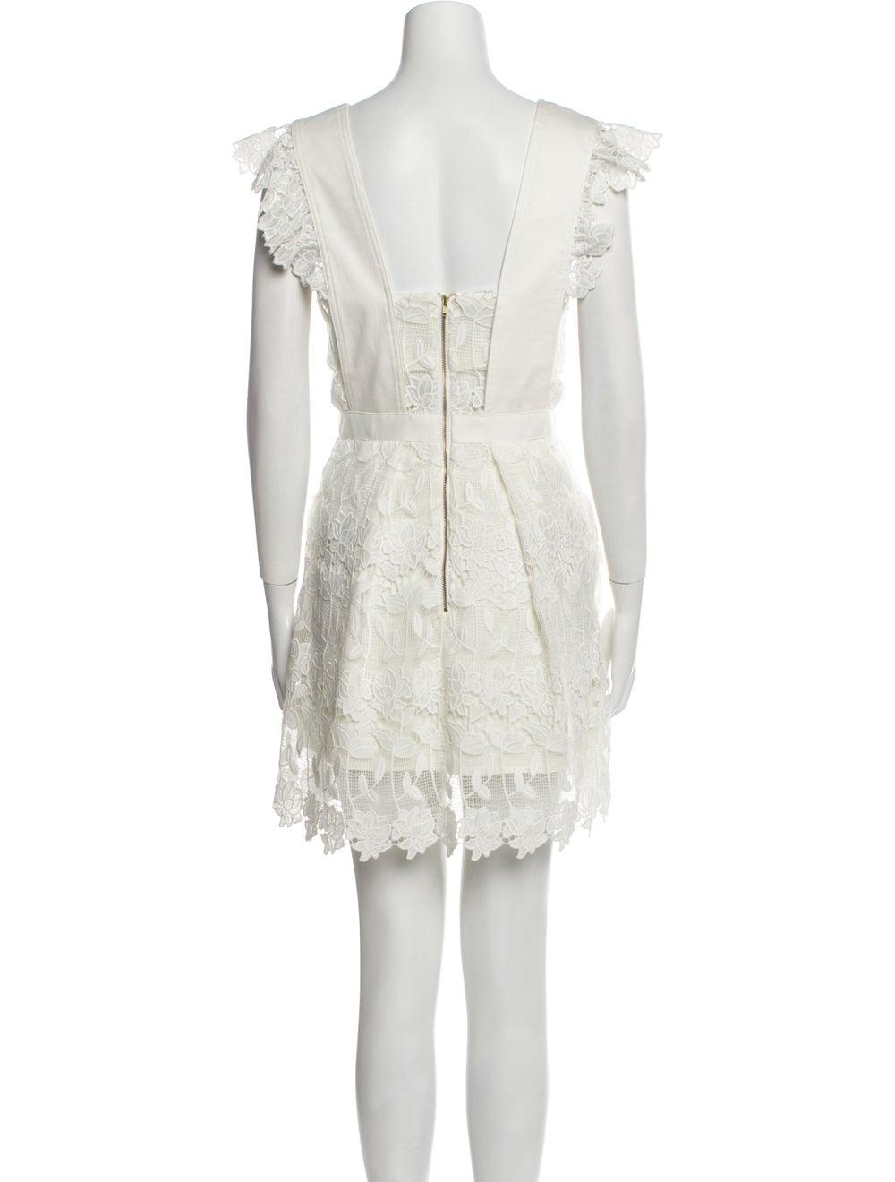 Self-Portrait Square Neckline Mini Dress White - image 3