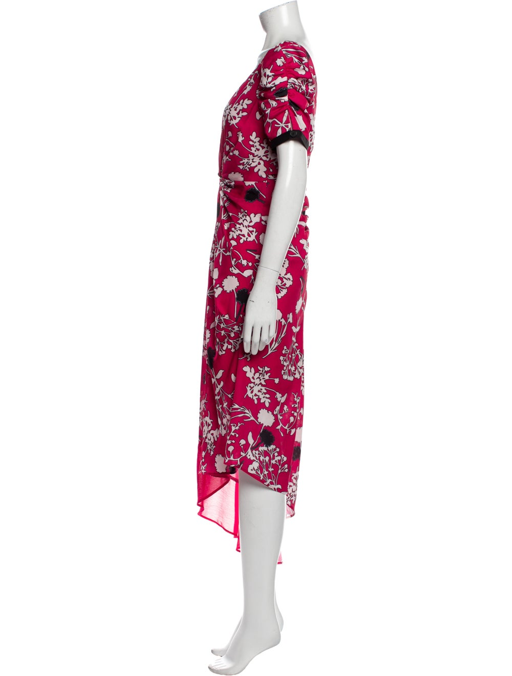 Self-Portrait Floral Print Long Dress Red - image 2