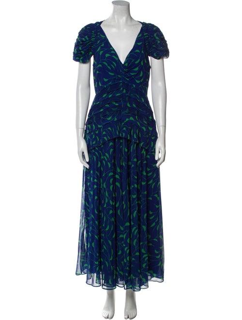 Self-Portrait Printed Midi Length Dress Blue