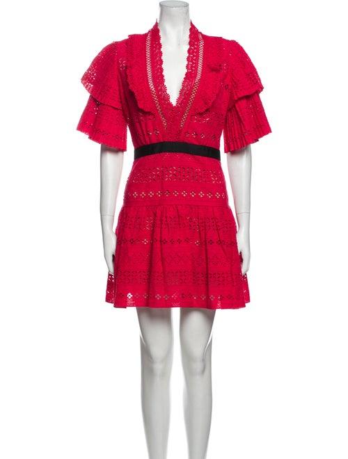 Self-Portrait Lace Pattern Mini Dress Red