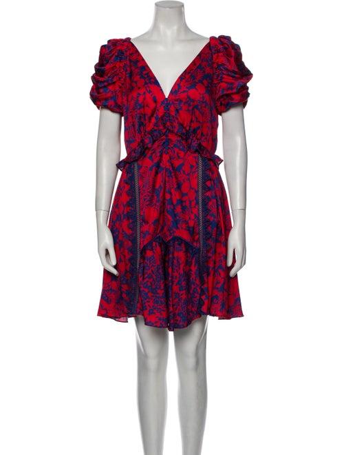 Self-Portrait Floral Print Mini Dress Red