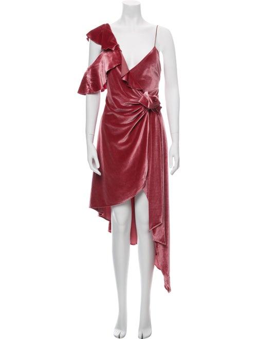 Self-Portrait V-Neck Long Dress Pink