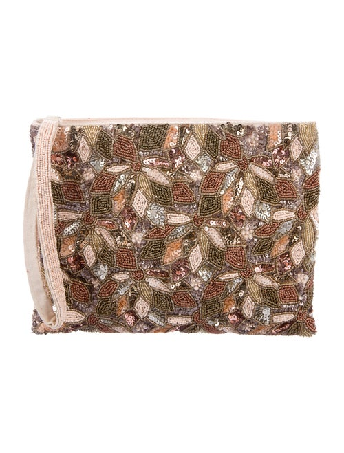 Sézane Bead-Embellished Zip Pouch Silver