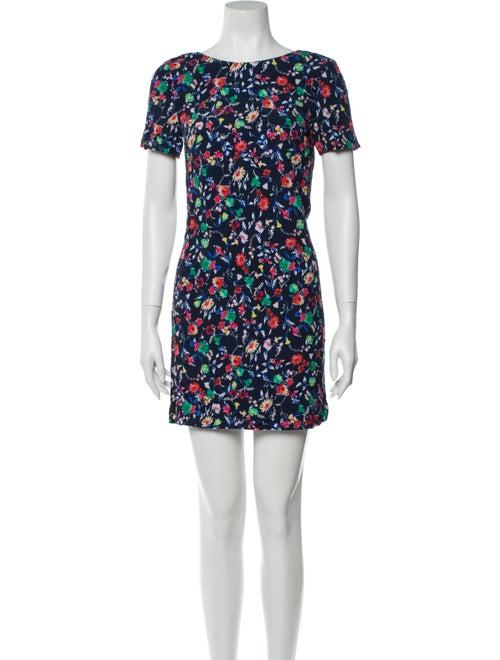 Sézane Floral Print Mini Dress Blue
