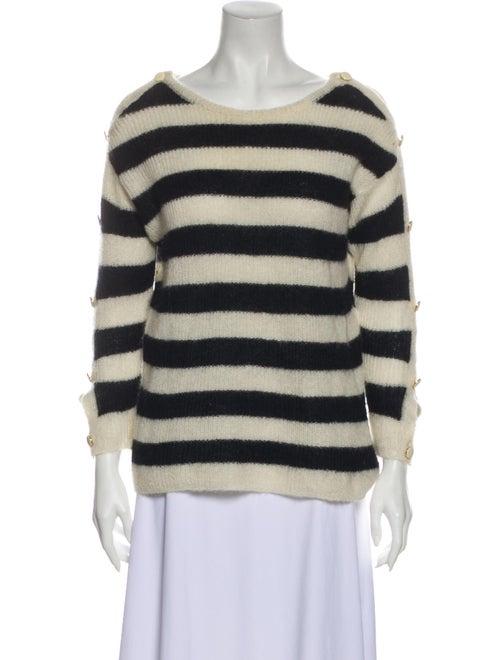 Sézane Striped Scoop Neck Sweater Blue