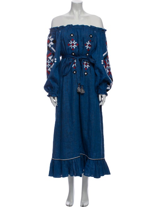Sleeping Gypsy Linen Long Dress Blue